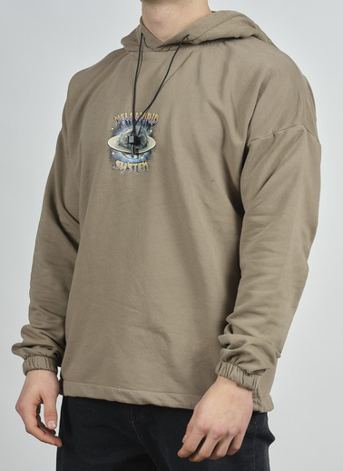 XHAN Açık Kahve Yıkamalı Baskılı Sweatshirt 1Kxe8-44281-39 Kahve